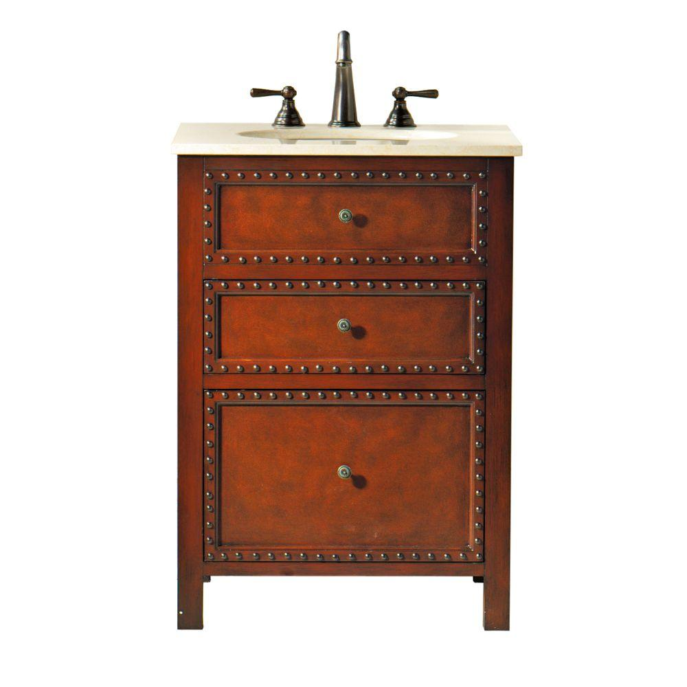 Home Decorators Collection Harlow 24 in. W Vanity in Dark Brown with Marble Vanity Top in Cream