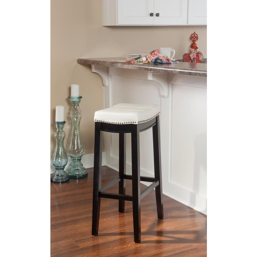 Linon Home Decor Claridge 32 in. White Cushioned Bar Stool 55816WHTPU-01-KD-U