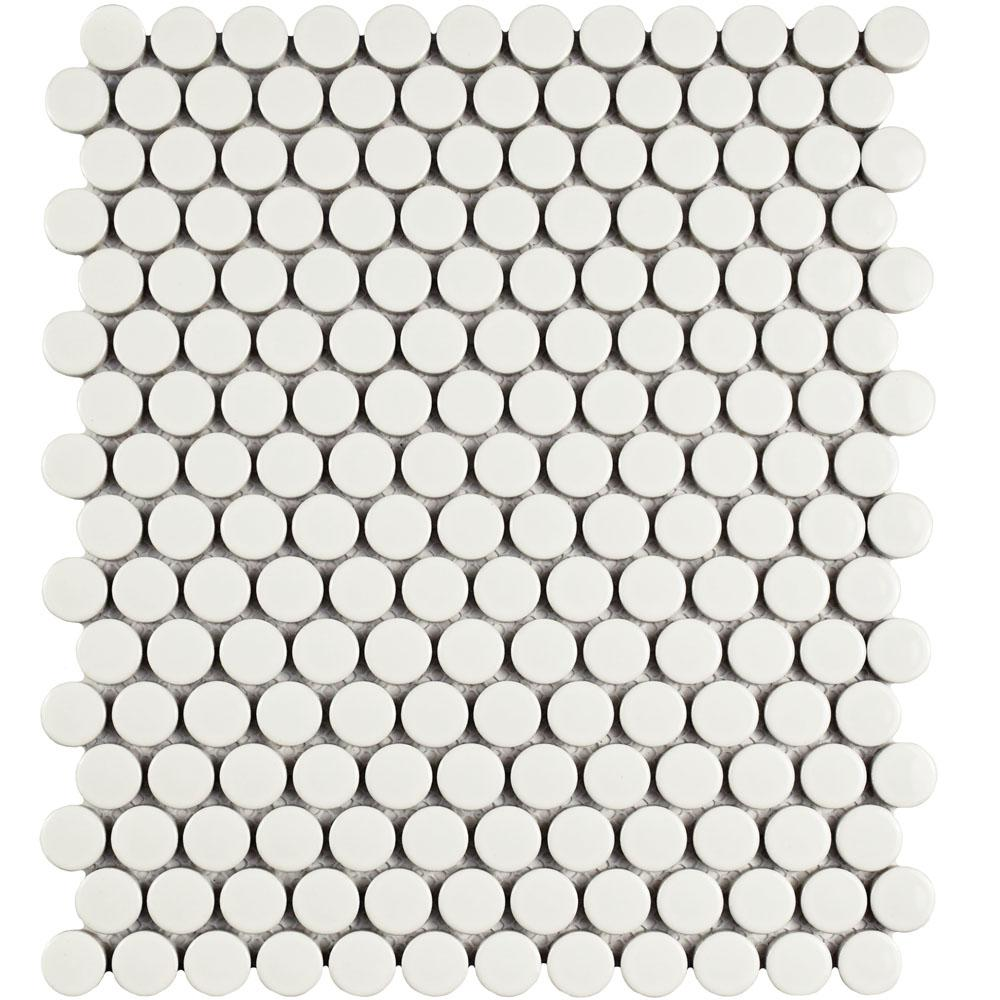 Merola Tile Metro Penny Glossy White 9-3/4 in. x 11-1/2 in. x 6 mm Porcelain Mosaic Tile (8 sq. ft. / case)