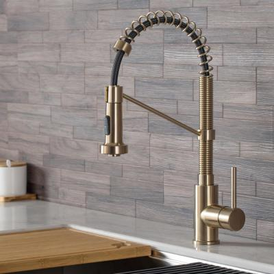 Bolden Single-Handle Pull-Down Sprayer Kitchen Faucet with Dual Function Sprayhead in Spot Free Antique Champagne Bronze