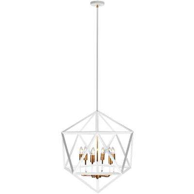 6-Light Matte White Chandelier