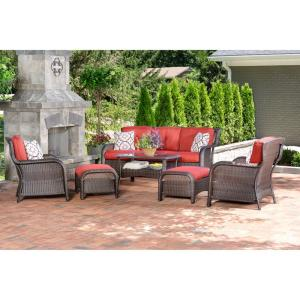 Strathmere 6-Piece Wicker Patio Conversation Set with Crimson Red Cushions