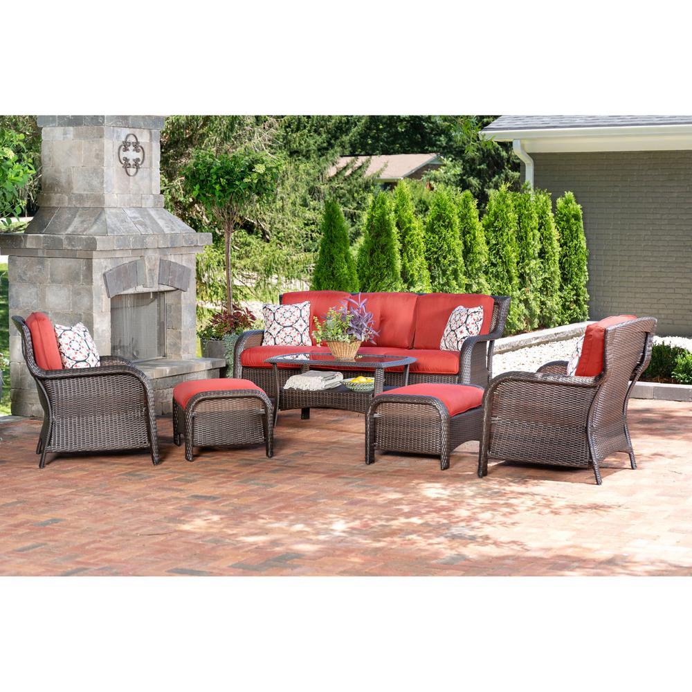 Strathmere 6-Piece Wicker Patio Conversation Set with Crimson Red Cushions