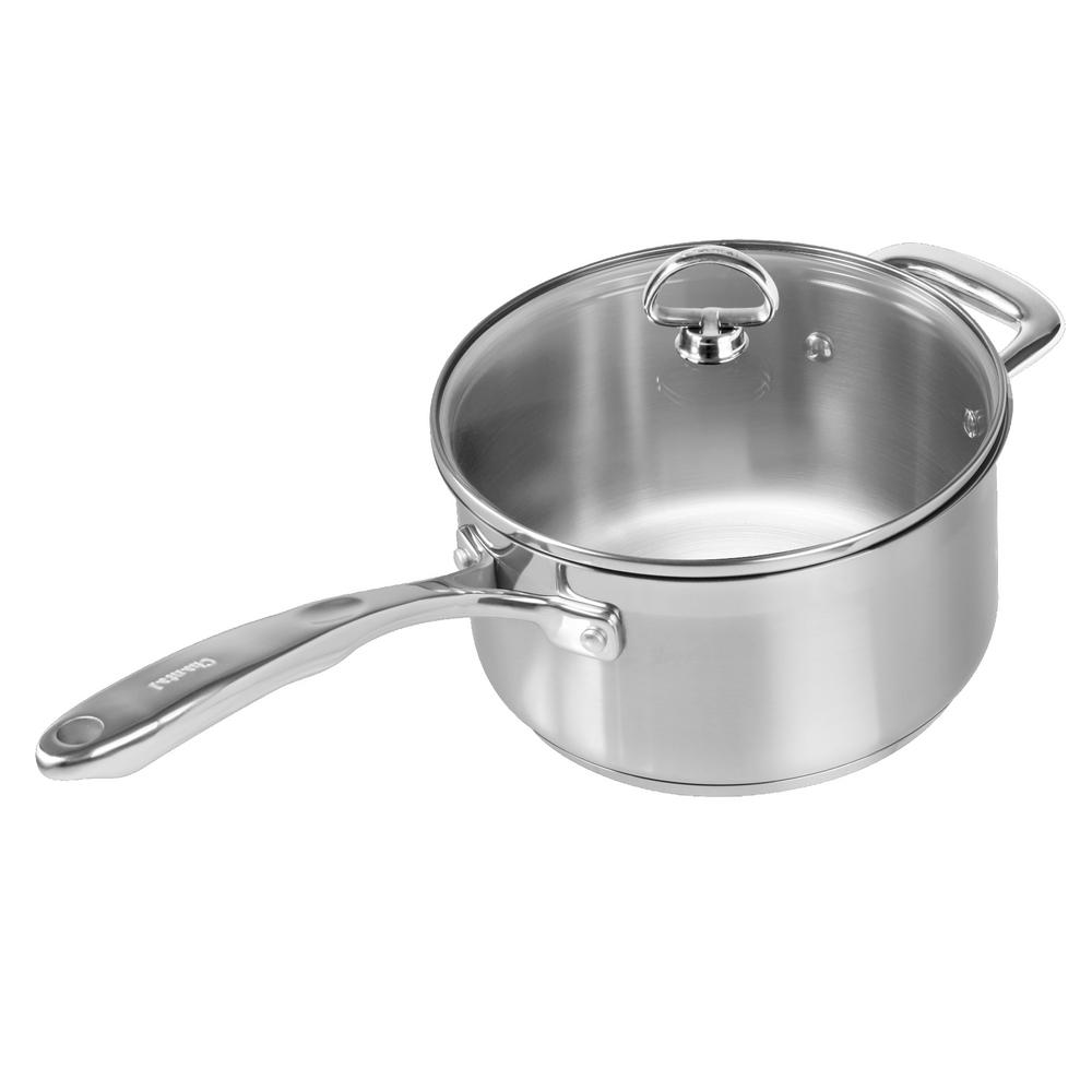 Induction 21 Steel 3.5 Qt. Sauce Pan with Glass Lid in