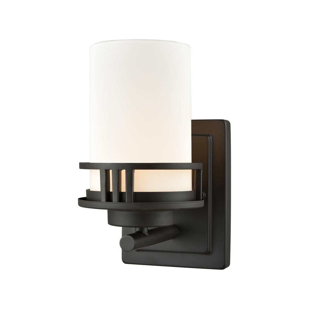 Ravendale 1-Light Oil Rubbed Bronze With Opal White Glass Bath Light