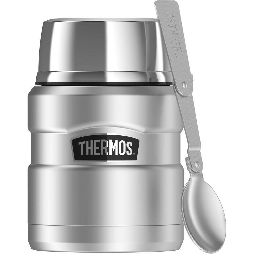 thermos stainless king 16 oz vacuum insulated stainless steel food jar with folding spoon. Black Bedroom Furniture Sets. Home Design Ideas