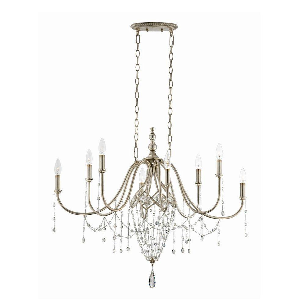 null Collana 8-Light Silver Leaf Oval Chandelier