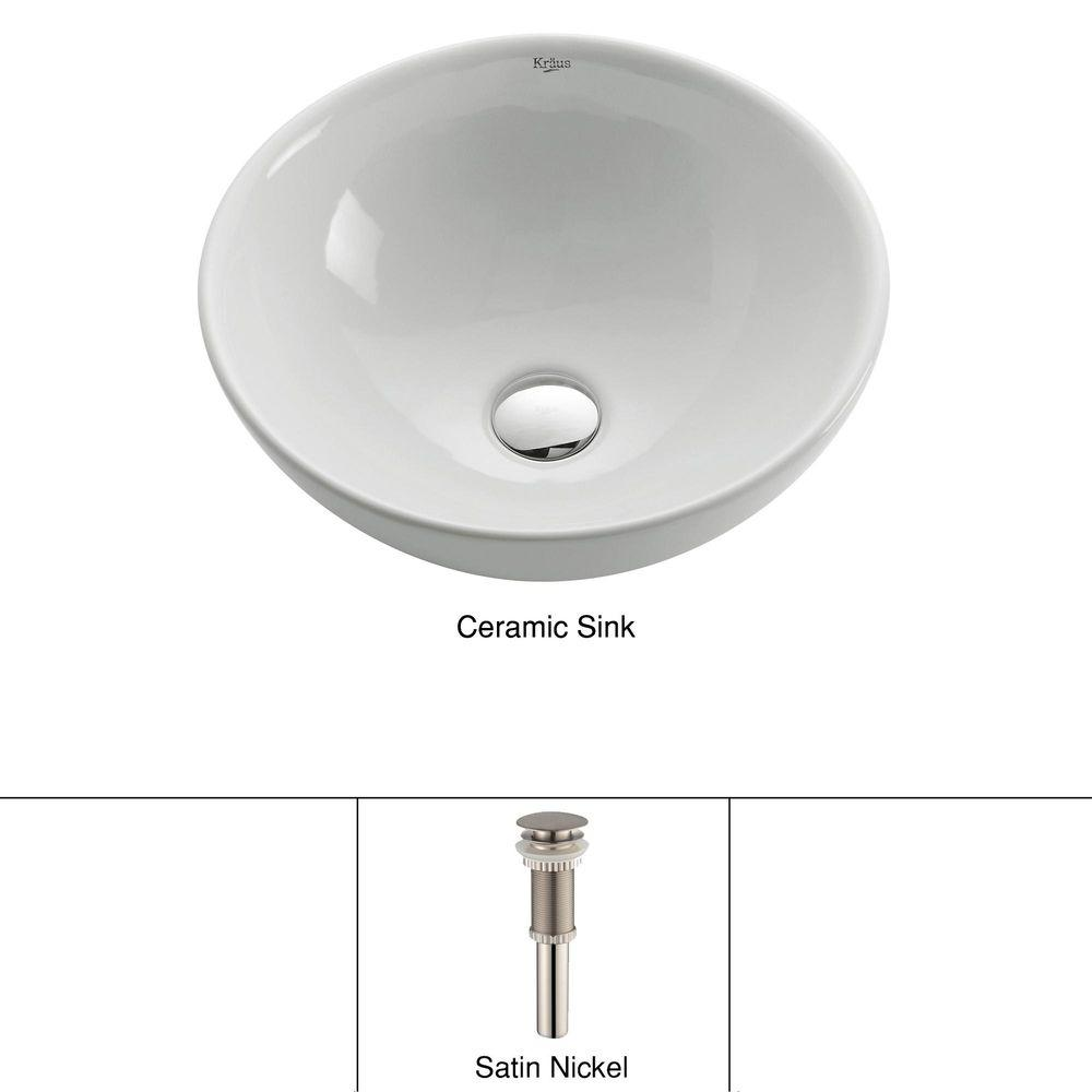 KES Bathroom Sink Drain Stoppper Faucet Vessel Vanity Sink Pop Up Drain  Assembly with Overflow Brushed