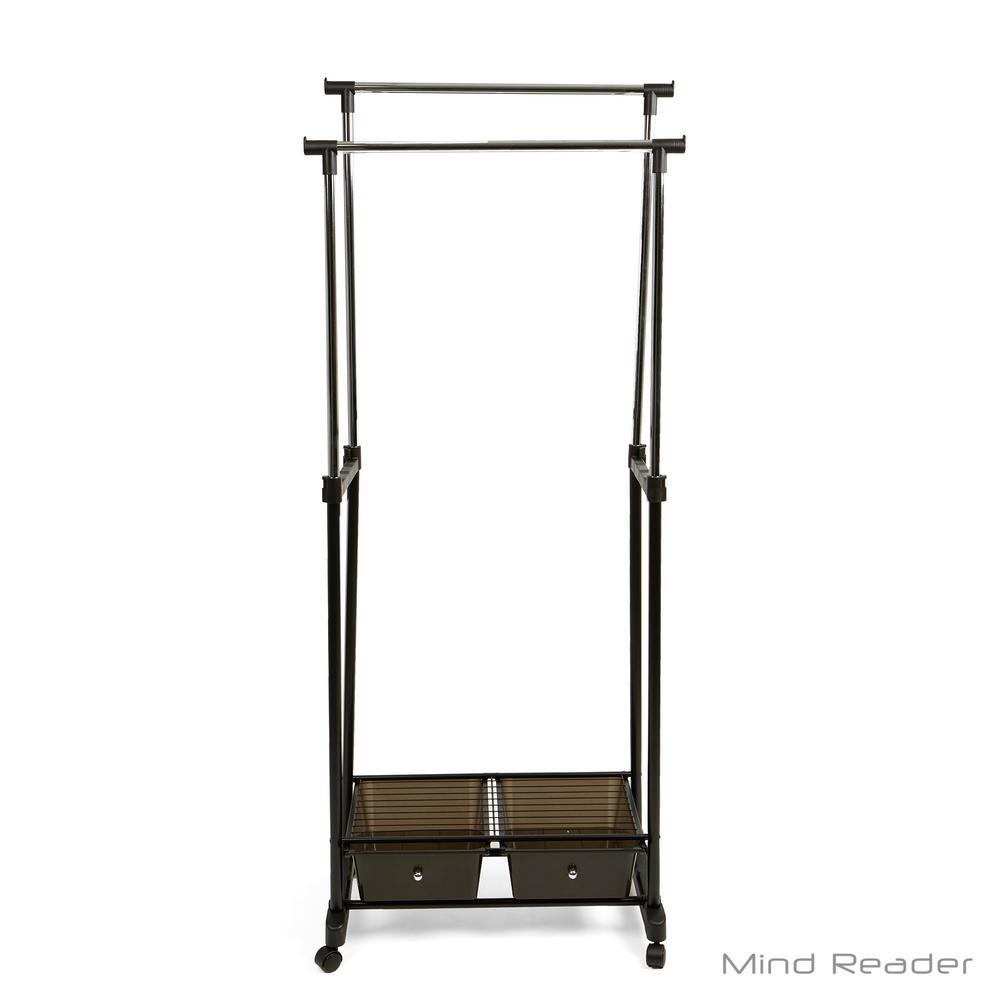 H black metal garment rack with