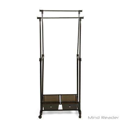 28.15 in. W x 62.8 in. H Black Metal Garment Rack with Storage Drawer