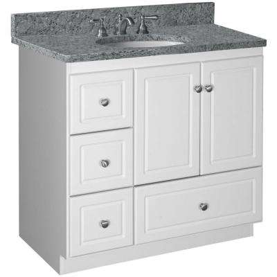 Ultraline 36 in. W x 21 in. D x 34.5 in. H Vanity Cabinet Only with Left Drawers in Satin White