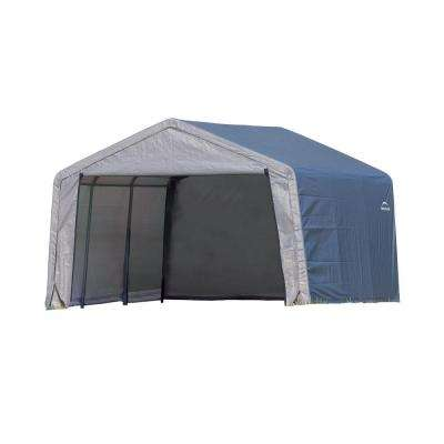 Shed-In-A-Box 12 ft. x 12 ft. x 8 ft. Grey Peak Style Storage Shed