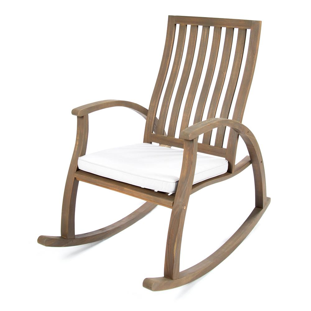 Noble House Gray Wood Outdoor Rocking Chair With Gray Cushion