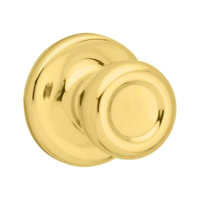 Mobile Home Polished Brass Hall/Closet Door Knob with Microban Antimicrobial Technology