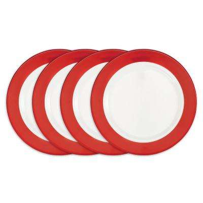Bistro 4-Piece Red Melamine Dinner Plate Set