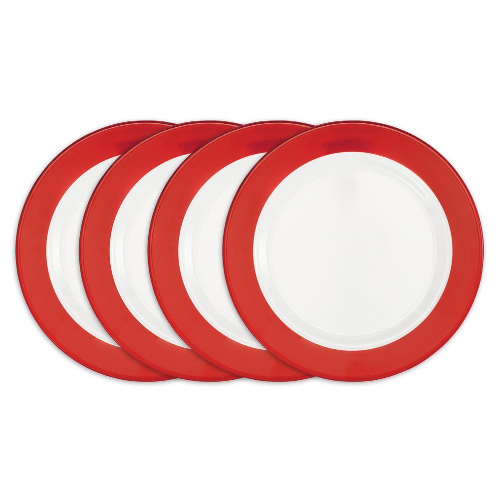 Q Squared Bistro 4-Piece Red Melamine Dinner Plate Set BISRE03