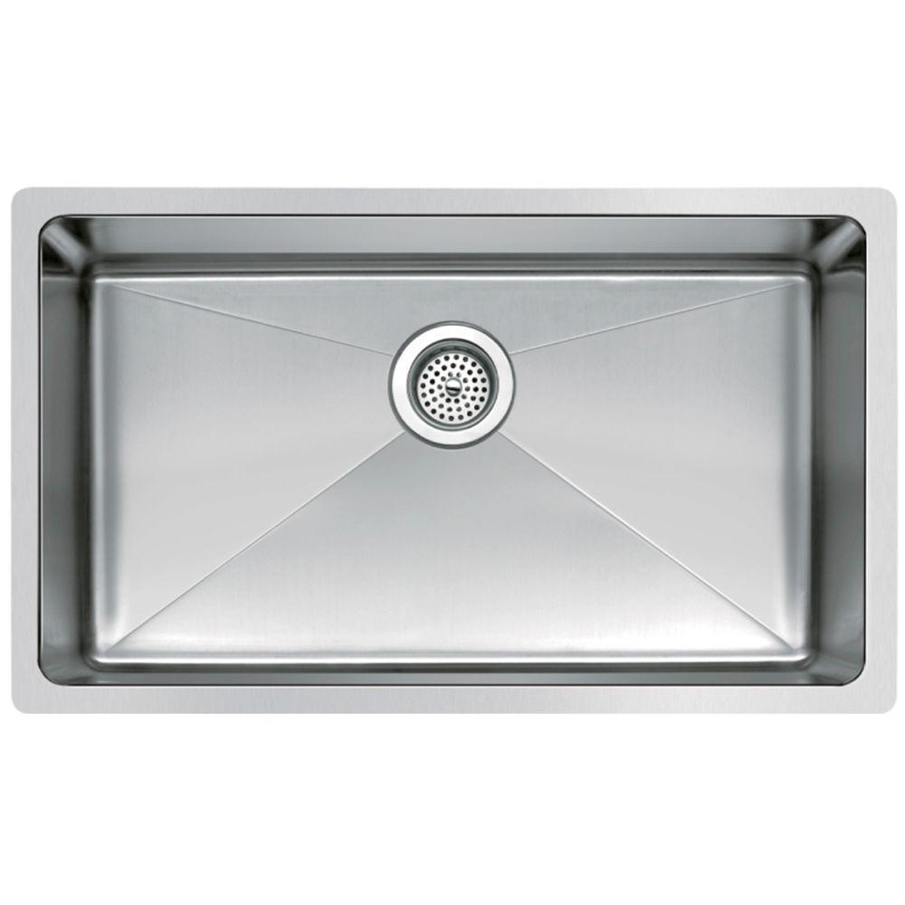 Undermount Small Radius Stainless Steel 30x18x9 0-Hole Single Bowl Kitchen Sink in Satin Finish