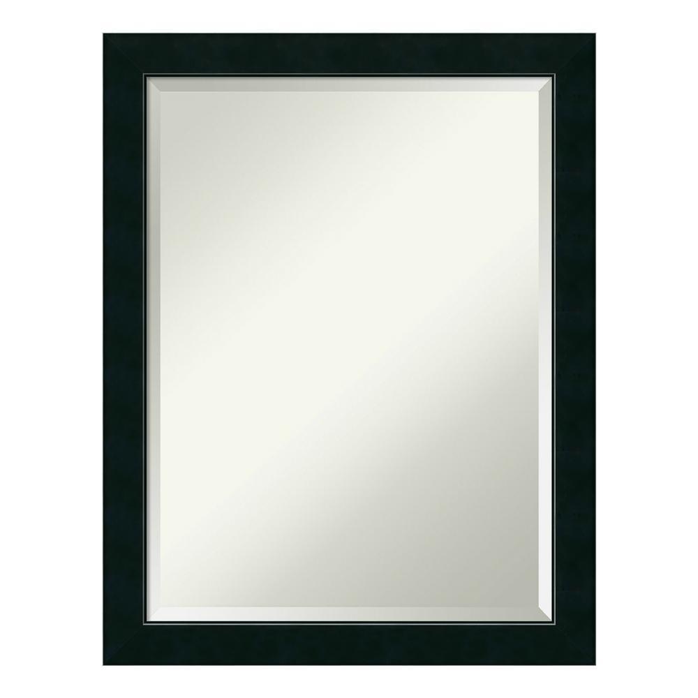 Corvino 21 in. W x 27 in. H Framed Rectangular Beveled Edge Bathroom Vanity Mirror in Narrow Satin Black