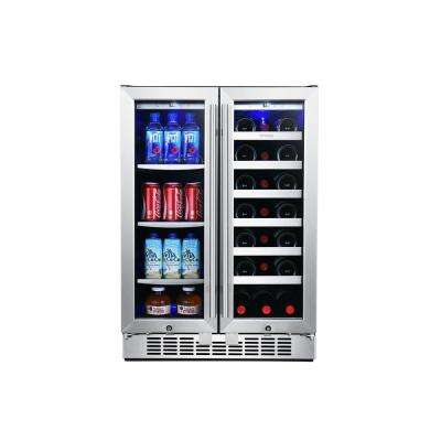 24 in. 60-Can and 21-Bottle French Door Stainless Steel Dual Zone Built-In Beverage and Wine Cooler