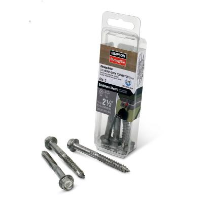 1/4 in. x 2-1/2 in. Strong-Drive SDS Heavy-Duty Type 316 Stainless Steel Connector Screw (5-Pack)