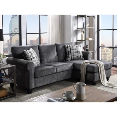 Gray Convertible Sectional Sofa with 2 Pillows for Small Space