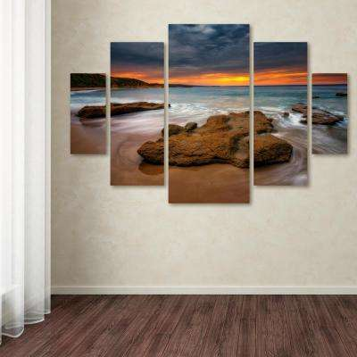 "40 in. x 58 in. ""Beach at Sunset 5"" by Lincoln Harrison Printed Canvas Wall Art"