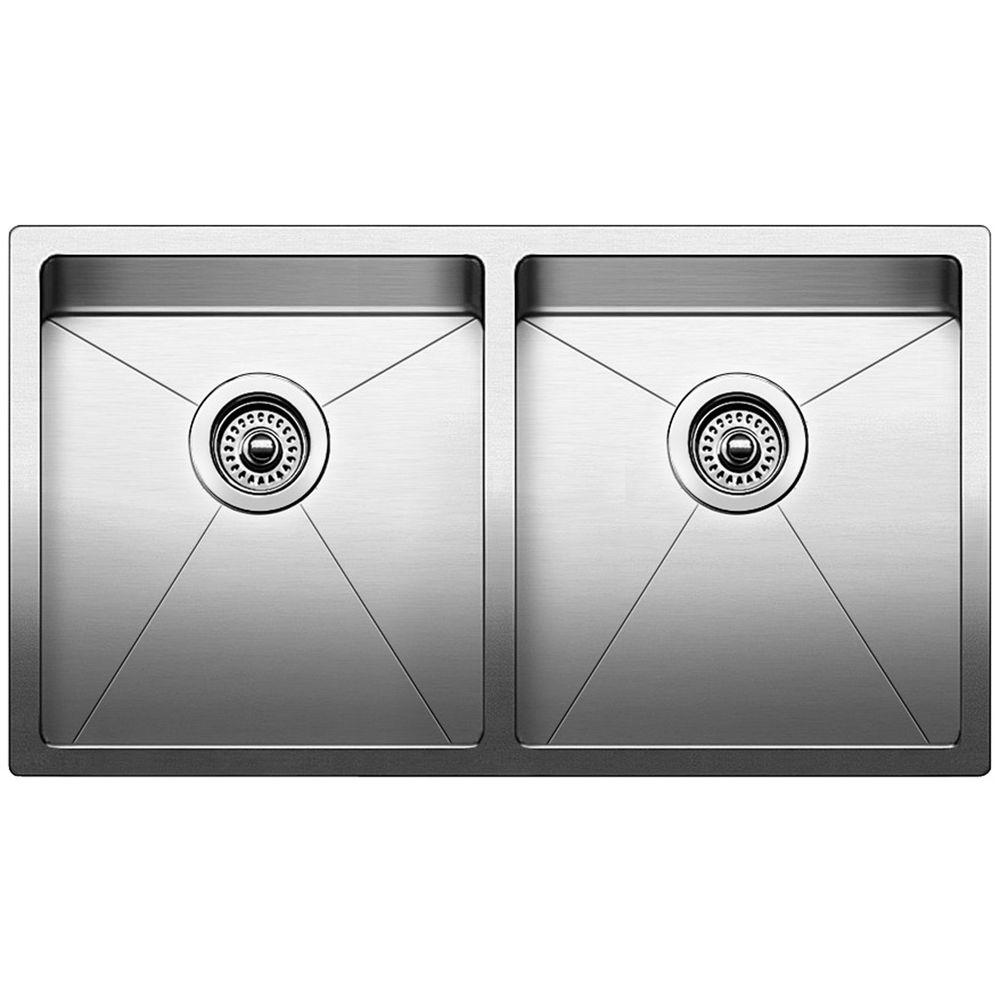 blanco quatrus r15 undermount stainless steel 32 in 0 hole equal