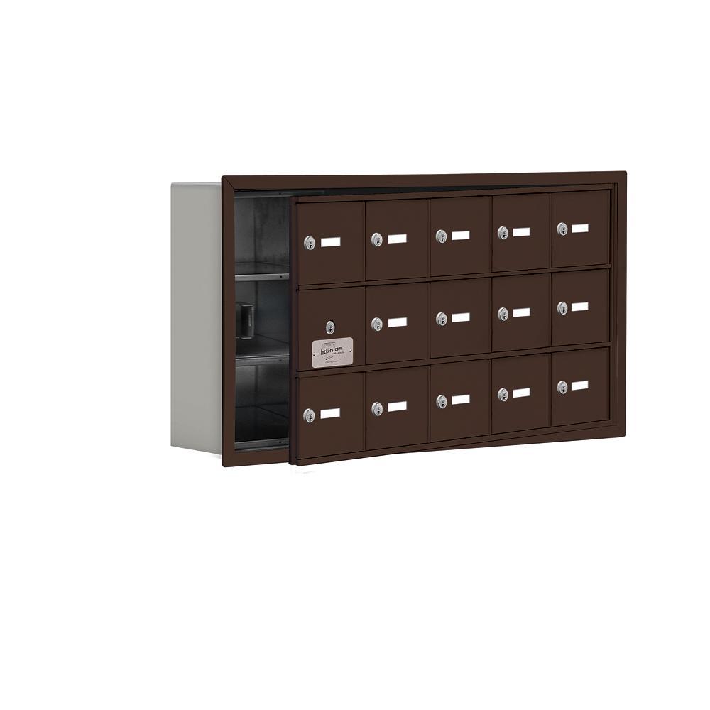 19100 Series 35.75 in. W x 18.75 in. H x 5.75 in. D 14 Doors Cell Phone Locker R-Mount Keyed Locks in Bronze