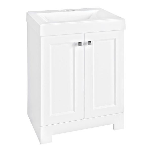 Shaila 24.5 in. W Bath Vanity in White with Cultured Marble Vanity Top in White with White Sink