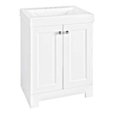Shaila 24.5 in. W Bath Vanity in White with Cultured Marble Vanity Top in White with White Basin