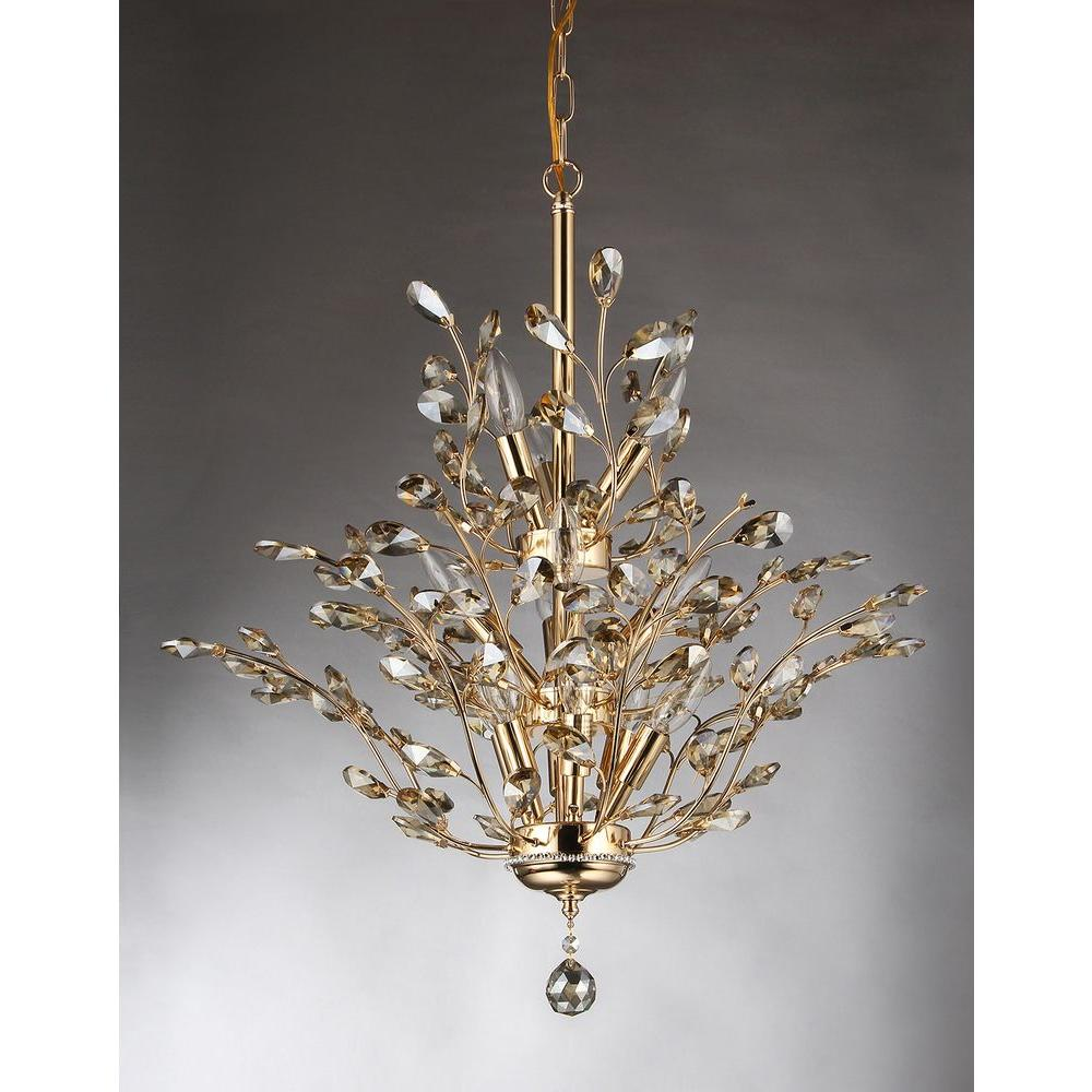 Gisell Light Gold Indoor Leaf Like Crystal Chandelier With Shade - Chandelier leaves crystals