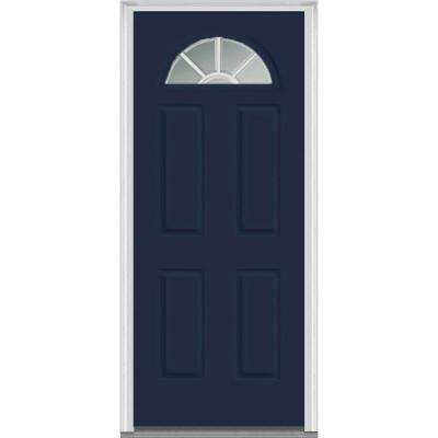 36 in. x 80 in. Grilles Between Glass Left-Hand Inswing 1/4-Lite Clear 4-Panel Classic Painted Steel Prehung Front Door