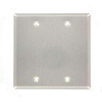 2-Gang No Device Blank Wallplate, Weather-Resistant, Aluminum, Box Mount, Gray