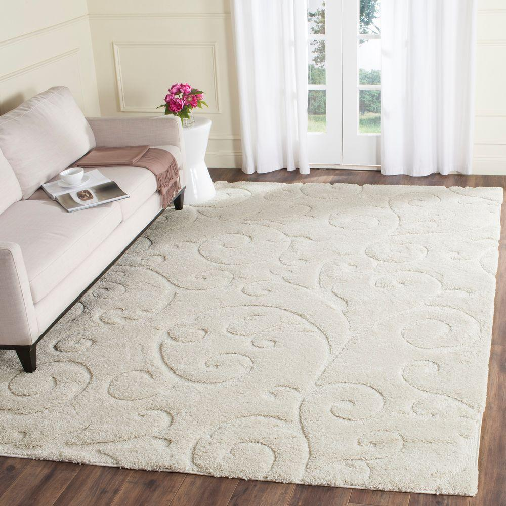 Safavieh Florida Shag Cream 8 Ft X 10 Ft Area Rug Sg455