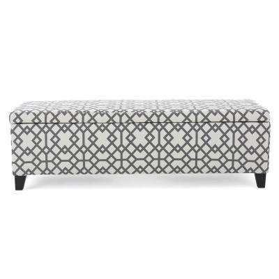 Cleo Gray Geometric-Patterned Fabric Storage Bench