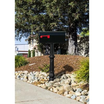 Hanford Twin Black Post System Non-Locking Mailbox with Scroll Supports, Ornate Base and Two E1 Mailboxes