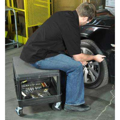 MS 24 in. W x 18 in. D x 20 in. H Mobile Mechanics Seat Utility Cart in Black