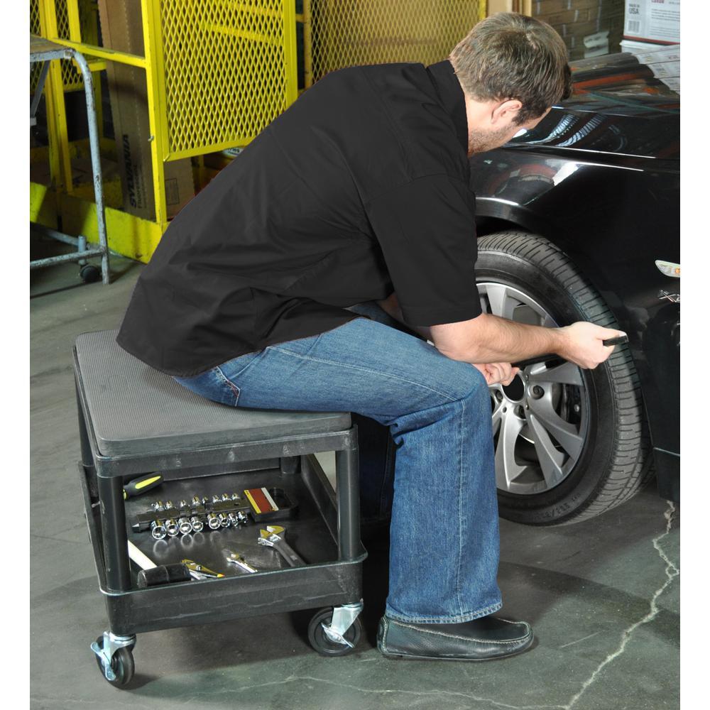 MS 24 in. W x 18 in. D x 20 in. H Mobile Mechanics Seat Utility Cart in Black