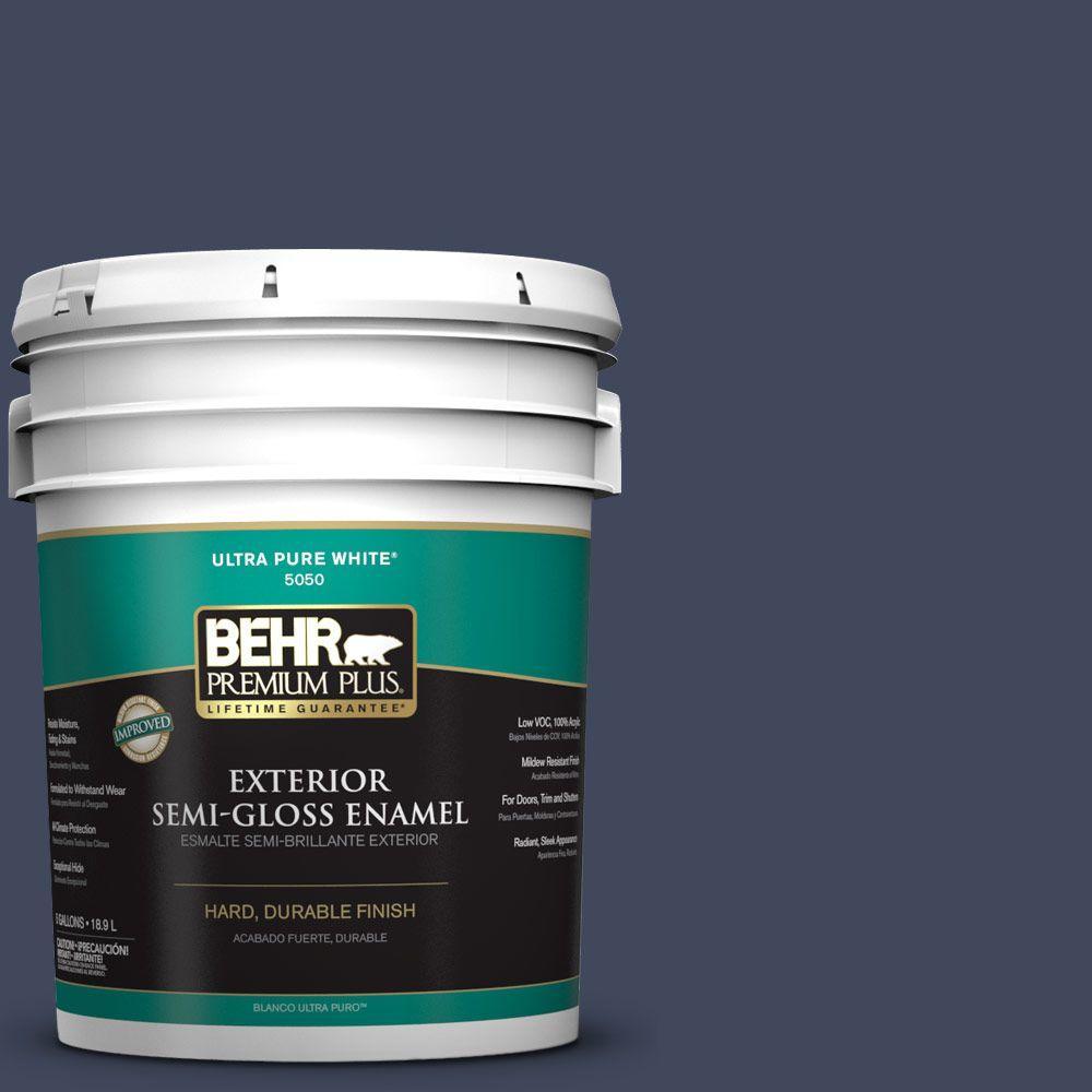 BEHR Premium Plus 5-gal. #S530-7 Dark Navy Semi-Gloss Enamel Exterior Paint