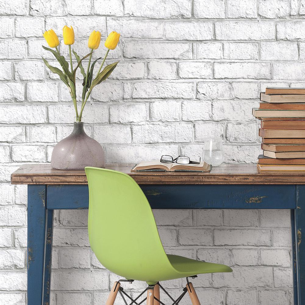 28.18 sq. ft. White Brick Peel and Stick Wallpaper