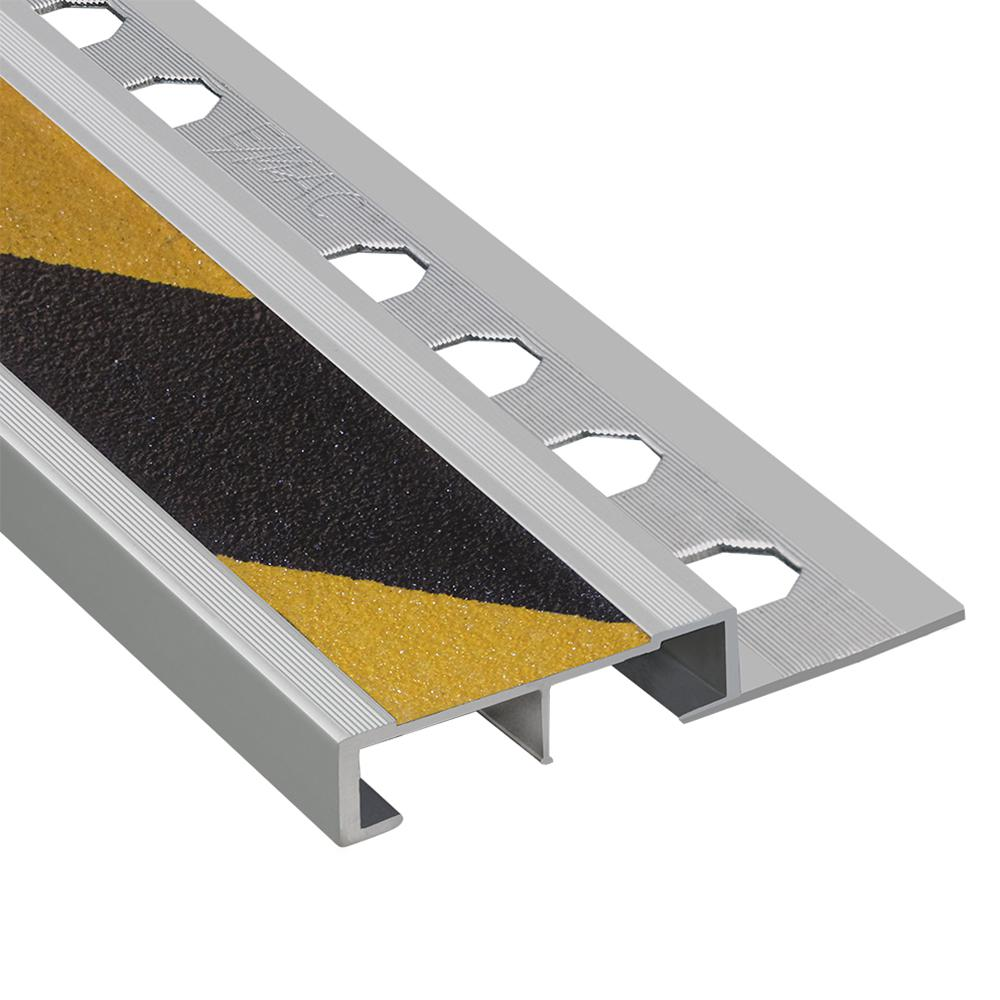Emac Novopeldano Safety Plus Matt Silver-Black and Yellow 3/8 in. x 98-1/2 in. Aluminum Tile Edging Trim