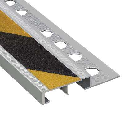 Novopeldano Safety Plus Matt Silver-Black and Yellow 3/8 in. x 98-1/2 in. Aluminum Tile Edging Trim