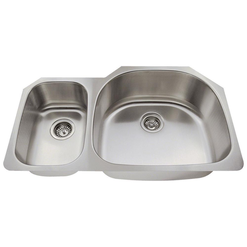 Undermount Stainless Steel 35 in. Double Bowl Kitchen Sink