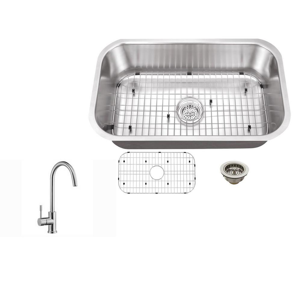 IPT Sink Company Undermount 30 in. 16-Gauge Stainless Steel ...
