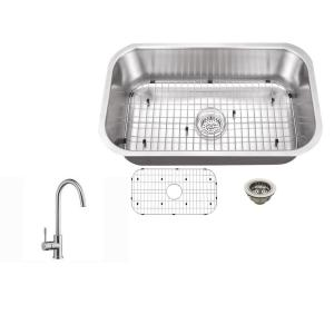 Ipt sink company undermount 30 in 16 gauge stainless steel kitchen 16 gauge stainless steel kitchen sink in brushed stainless with gooseneck workwithnaturefo