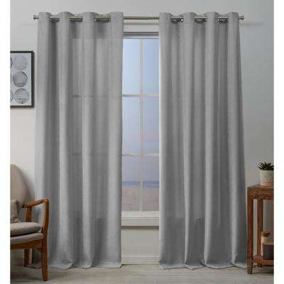 Baxter 54 in. W x 96 in. L Textured Grommet Top Curtain Panel in Dove Gray (2 Panels)