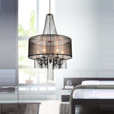 Amelia 6-Light Chrome Chandelier with Brown Shade