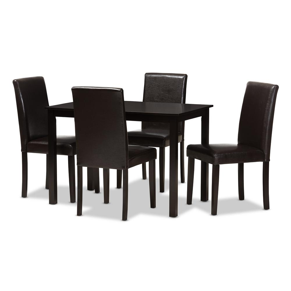 Baxton Studio Mia 5 Piece Dark Brown Dining Set