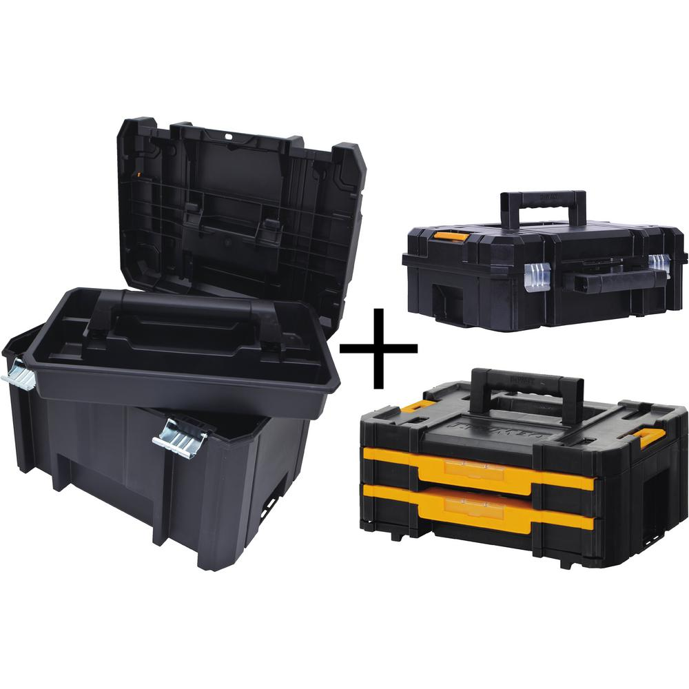 Beautiful DEWALT TSTAK VI 17 In. Deep Tool Box, TSTAK II Deep Tool Box And TSTAK IV  Small Parts Organizer Combo Set (3 Components) DWTSTAK03   The Home Depot