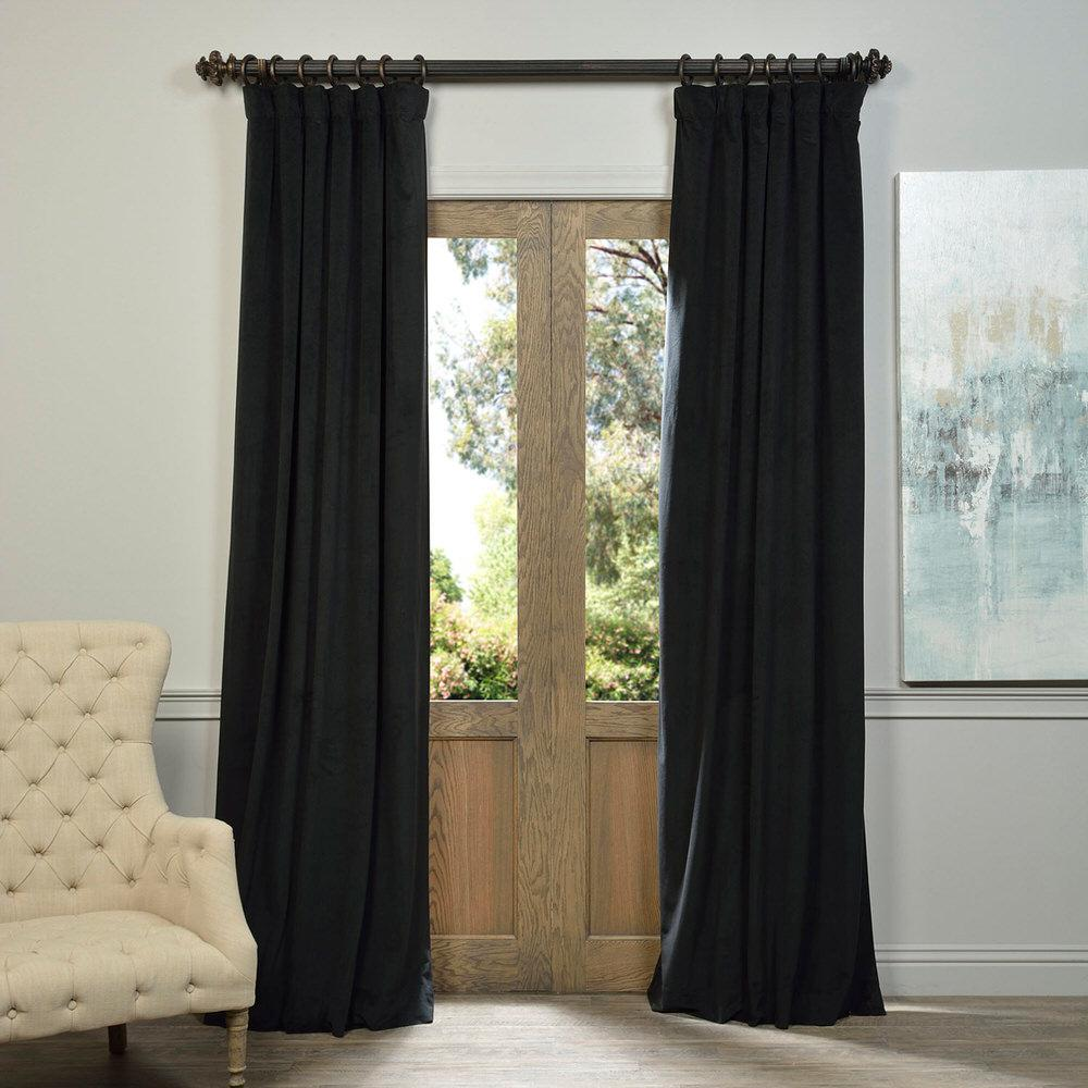 Exclusive Fabrics & Furnishings Blackout Signature Warm Black Blackout Velvet Curtain - 50 in. W x 120 in. L (1 Panel)